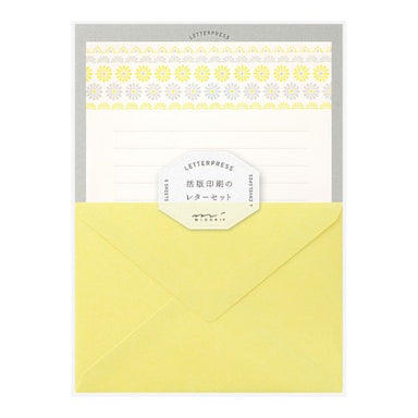 Flower Line Yellow Midori Letterpress Set w/ Stationery Papers and Envelopes - by Midori - K. A. Artist Shop