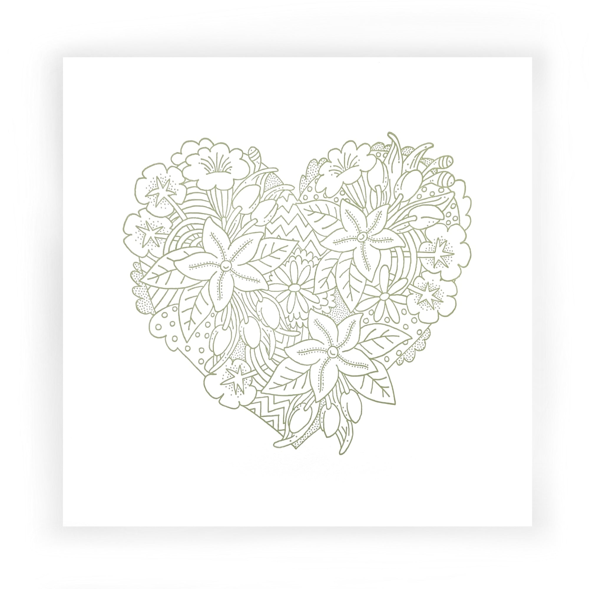 """Heart"" Letterpress Prints for Coloring by Smokey Road Press"