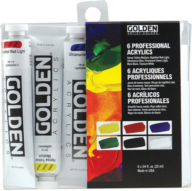 Golden Heavy Body Acrylic Set of 6 20ml Tubes - by Golden - K. A. Artist Shop