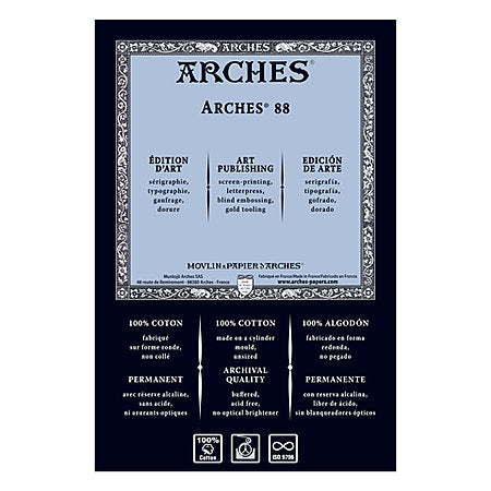 "Arches 88 White Silkscreen Sheet 22"" x 30"" - 300gsm / 140 lb."