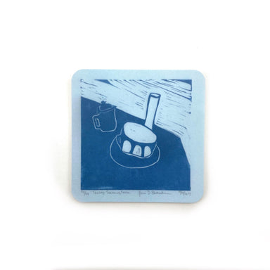 Cafe Scene Magnets by René Shoemaker - Light Blue Tea Setting by René Shoemaker - K. A. Artist Shop