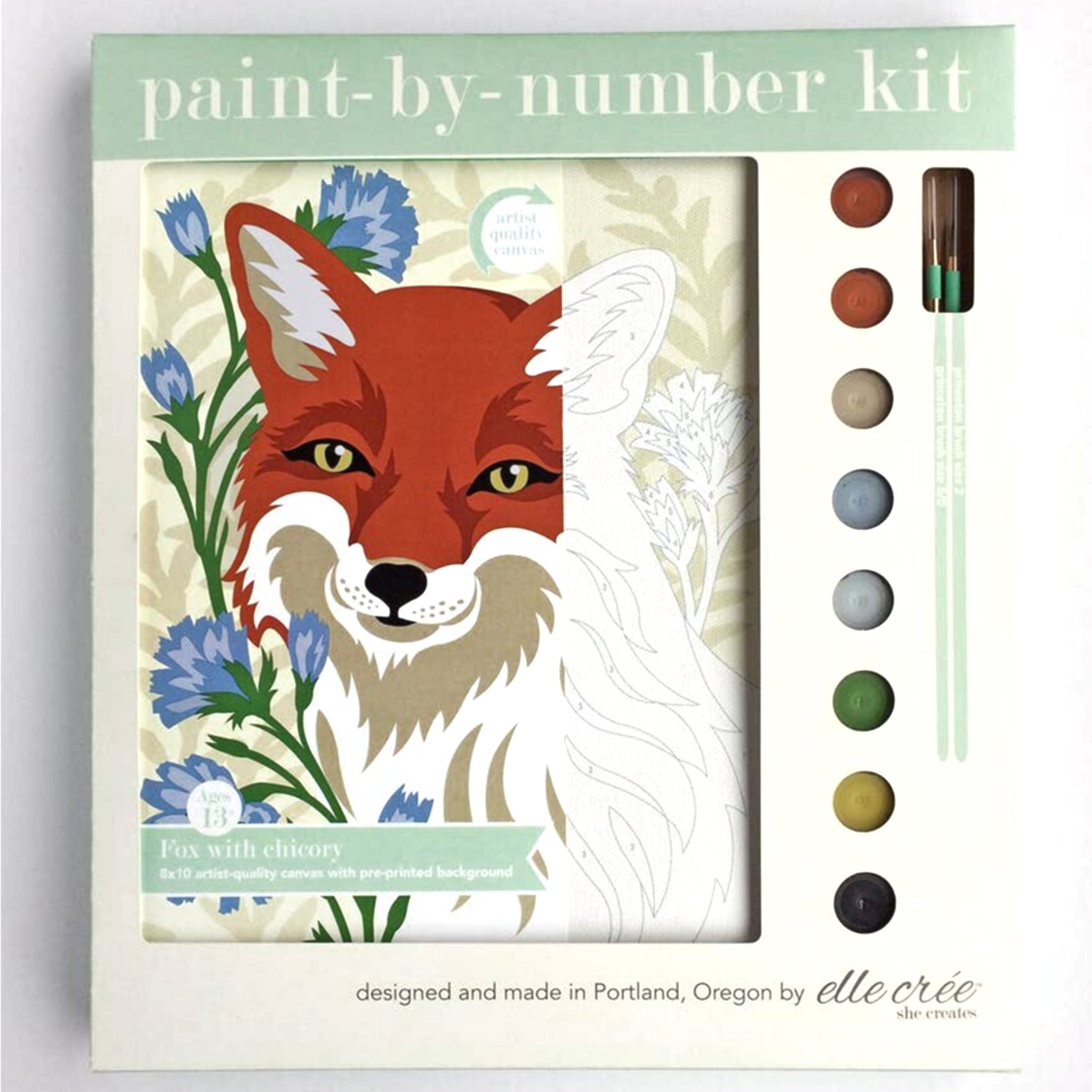 """Fox with Chicory"" Paint-by-Number Kit by elle crée - by elle crée - K. A. Artist Shop"