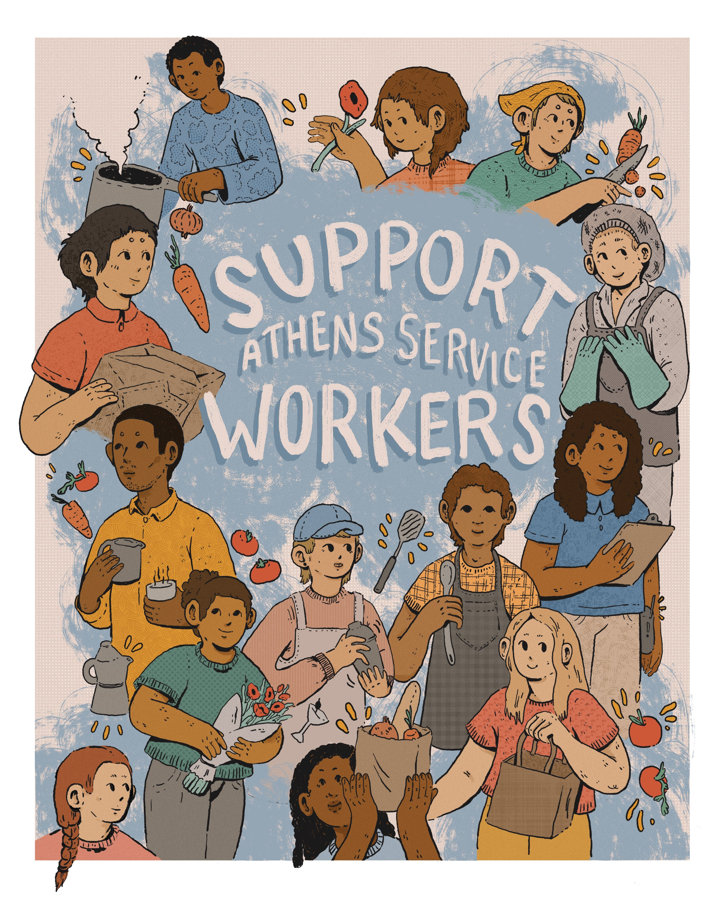 "Athens Banner Project: Archival Print of ""Support Athens Service Workers"" by Klée Schell - by Klée Schell - K. A. Artist Shop"