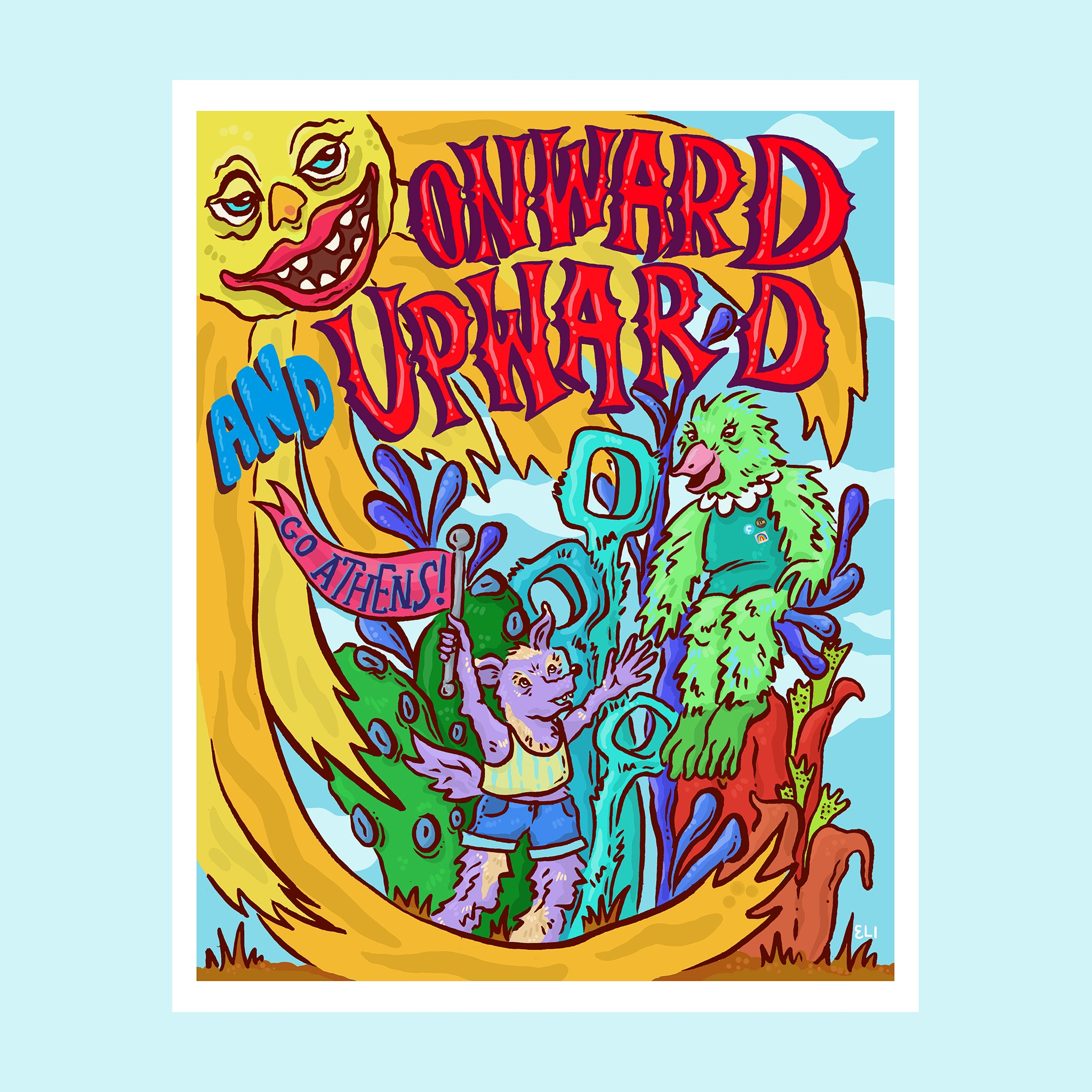 "Athens Banner Project: Archival Print of ""Onward and Upward"" by Eli Saragoussi - by Eli Saragoussi - K. A. Artist Shop"