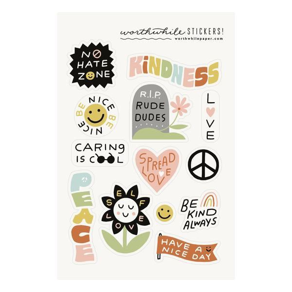"""Kindness"" Sticker Sheet by Worthwhile Paper"