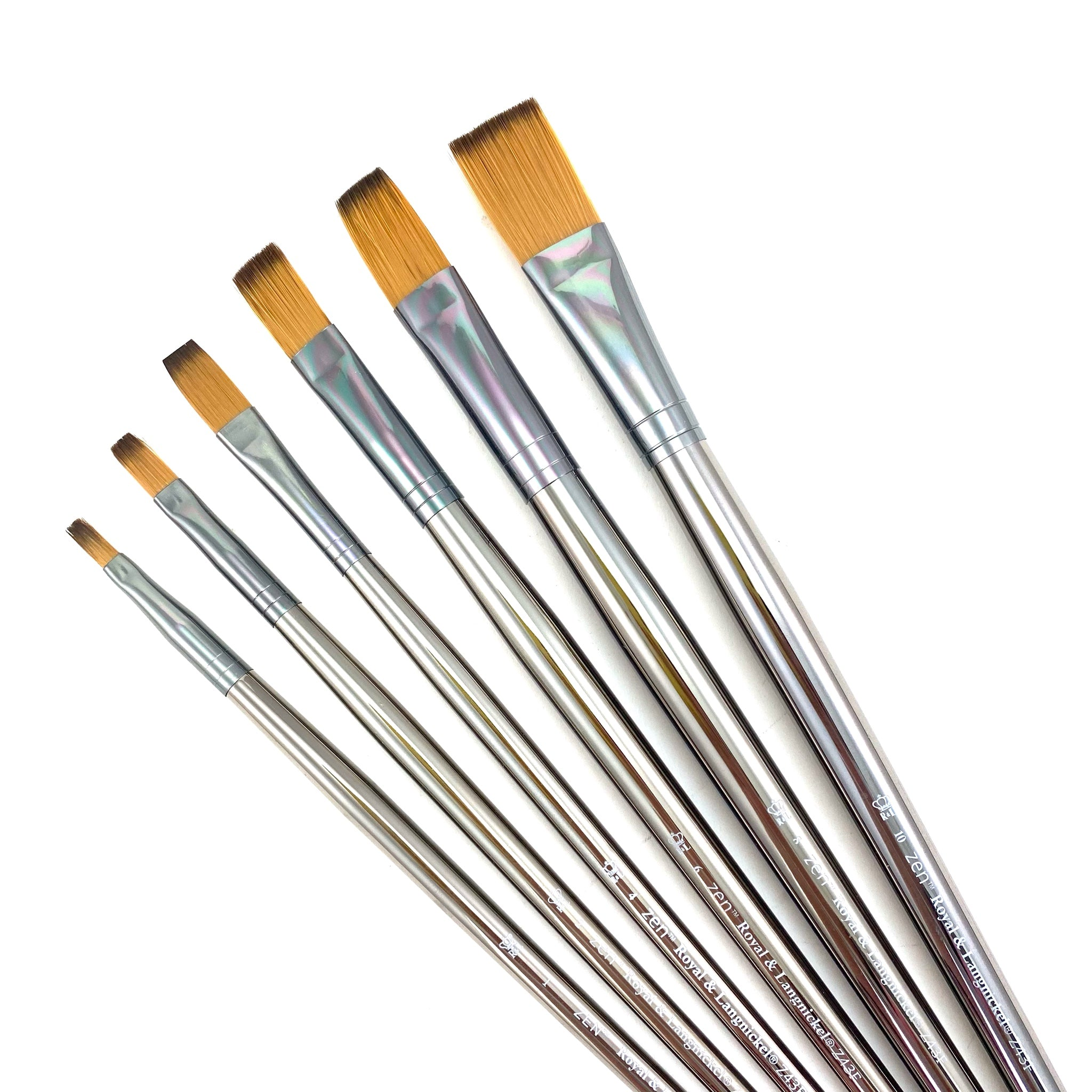 Royal & Langnickle Zen Long Handle Brushes - 43 Series - Flat / 12 by Royal & Langnickle - K. A. Artist Shop