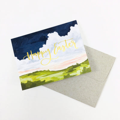 """Happy Easter"" Landscape Card by One Canoe Two"