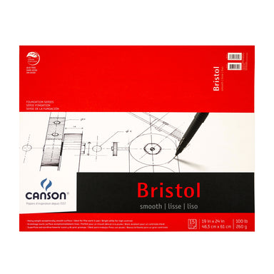 Canson Foundation Series Bristol Pad - Smooth Surface - 19 x 24 inches - 19 x 24 inches - Smooth by Canson - K. A. Artist Shop