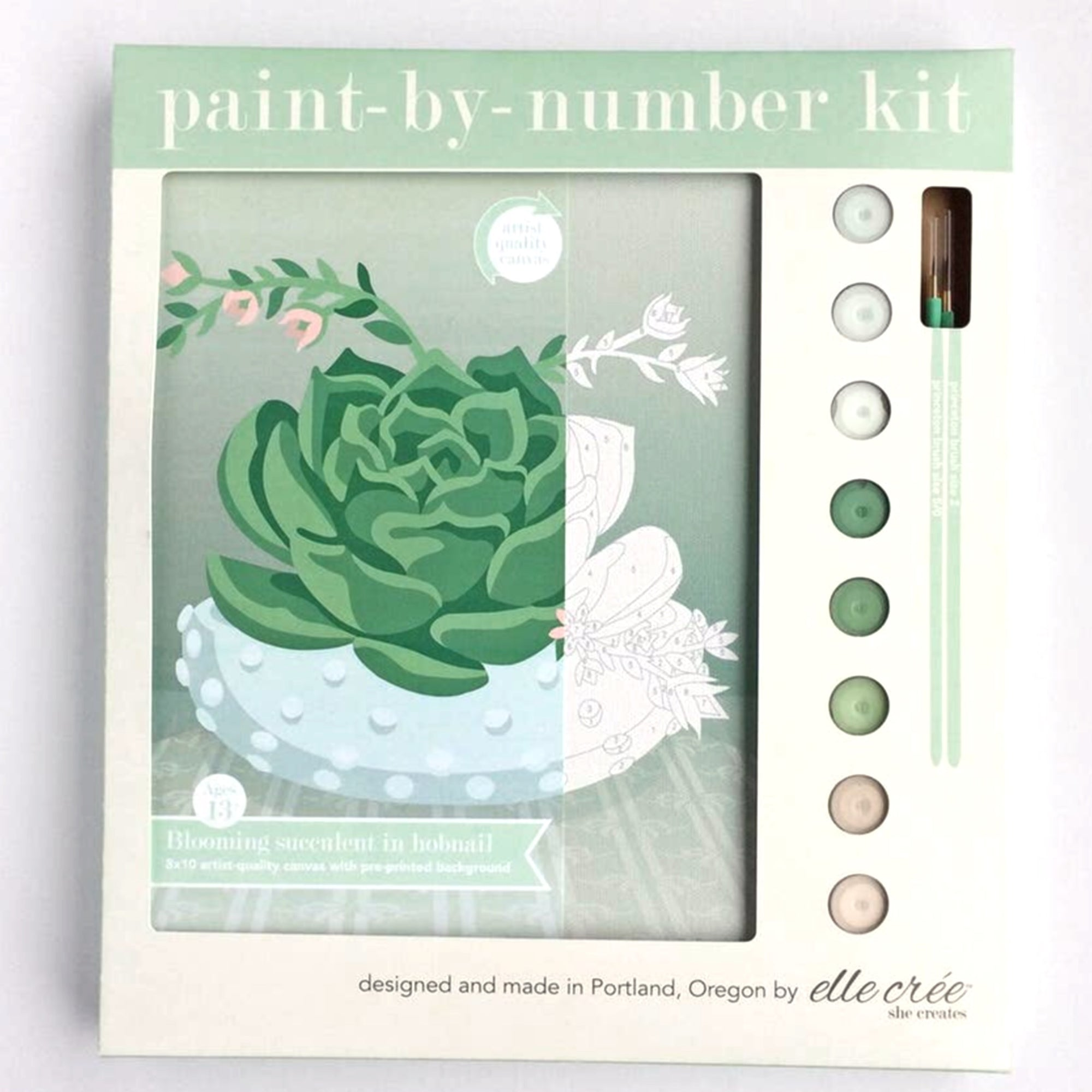 """Blooming Succulent in Hobnail Bowl"" Paint-by-Number Kit by elle crée"