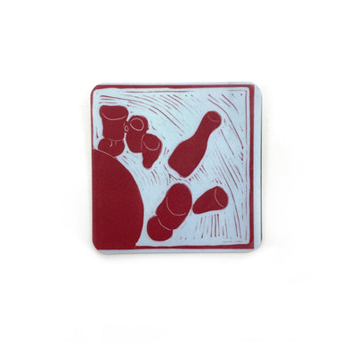 Cafe Scene Magnets by René Shoemaker - Red Cups and Carafe by René Shoemaker - K. A. Artist Shop