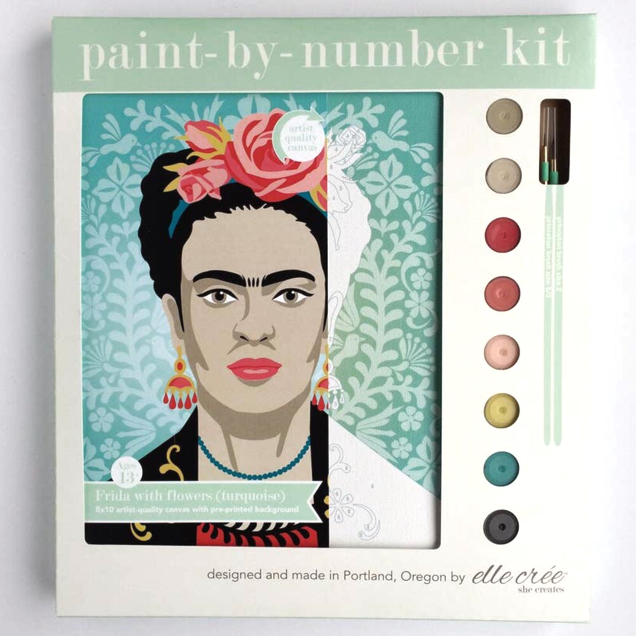 """Turquoise Frida with Flowers"" Paint-by-Number Kit by elle crée - by elle crée - K. A. Artist Shop"