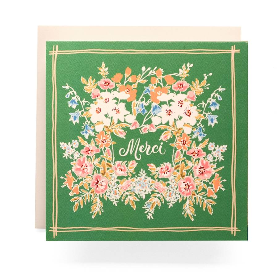 Antiquaria Handkerchief Merci Greeting Card