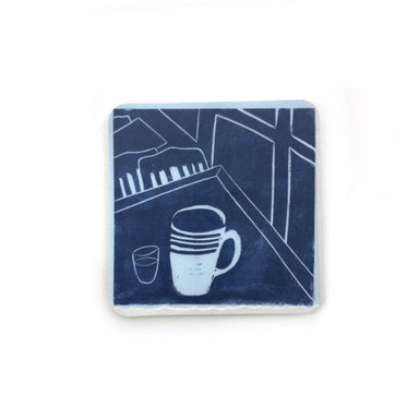 Cafe Scene Magnets by René Shoemaker - Indigo Table Setting by René Shoemaker - K. A. Artist Shop