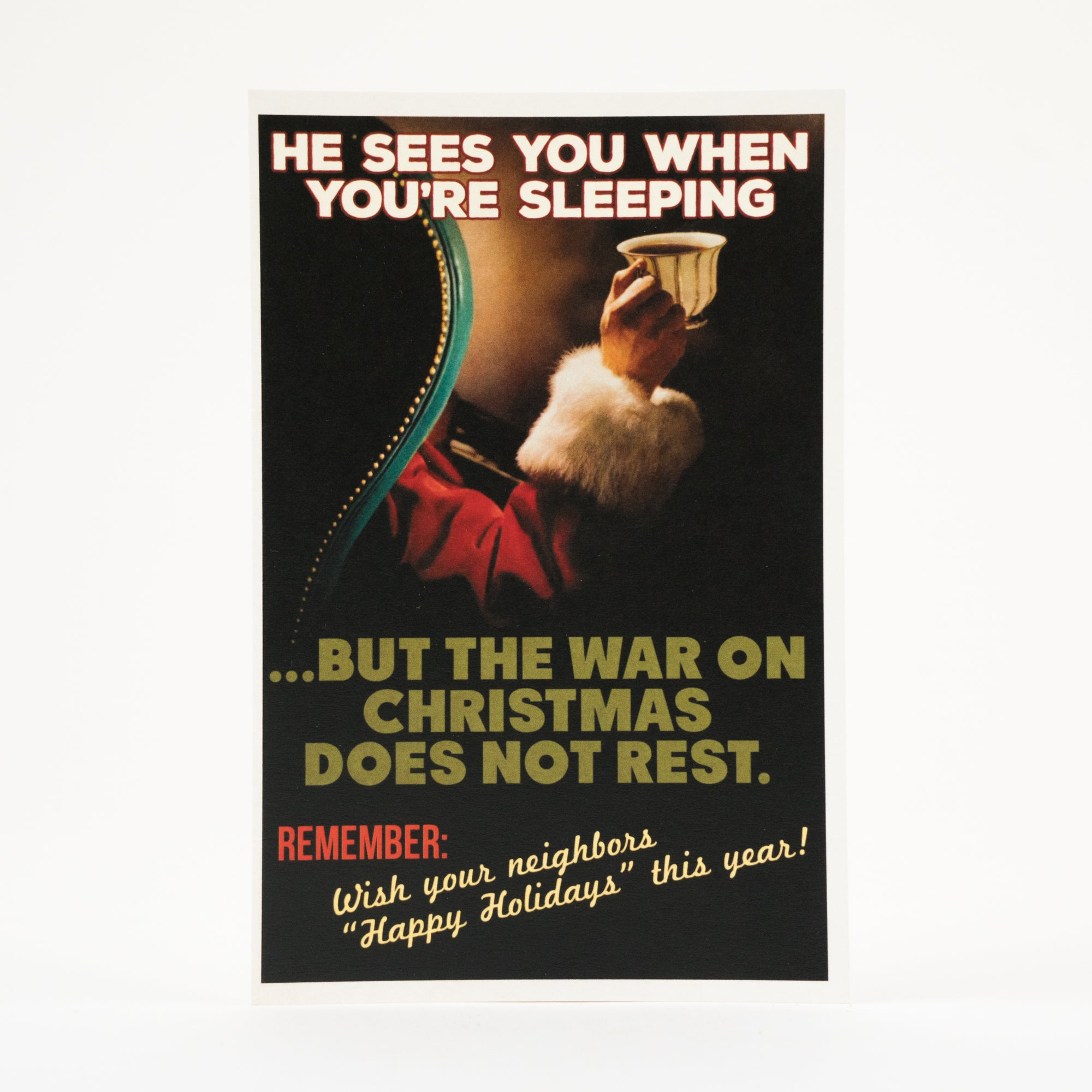 """He Sees You When You're Sleeping"" Athens, GA Postcard by Classic City Postal Service"