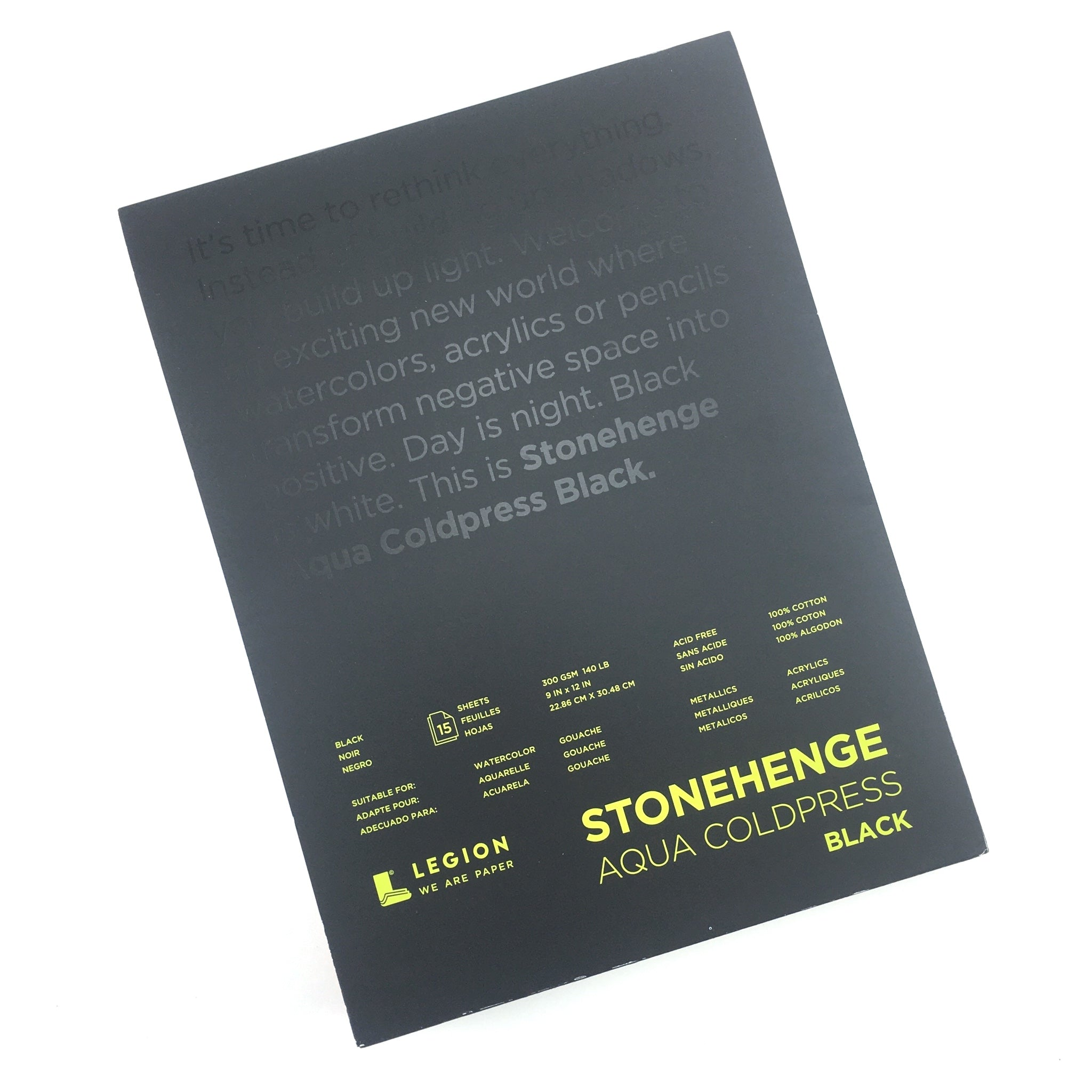 "Stonehenge Aqua Black Cold Press Watercolor Pad - 9"" x 12"" - 15 sheets/pad - by Stonehenge - K. A. Artist Shop"