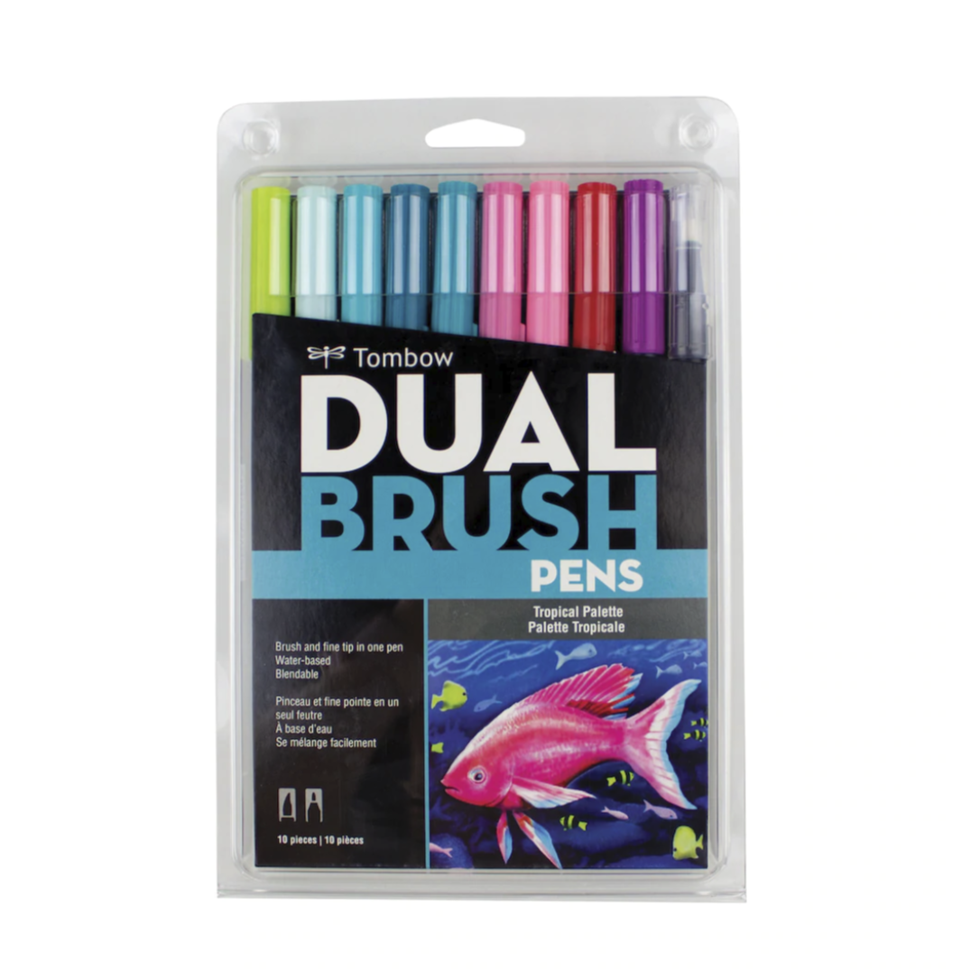 Tombow Dual Brush Pen and Artist Markers - Set of 10 - Tropical Palette by Tombow - K. A. Artist Shop