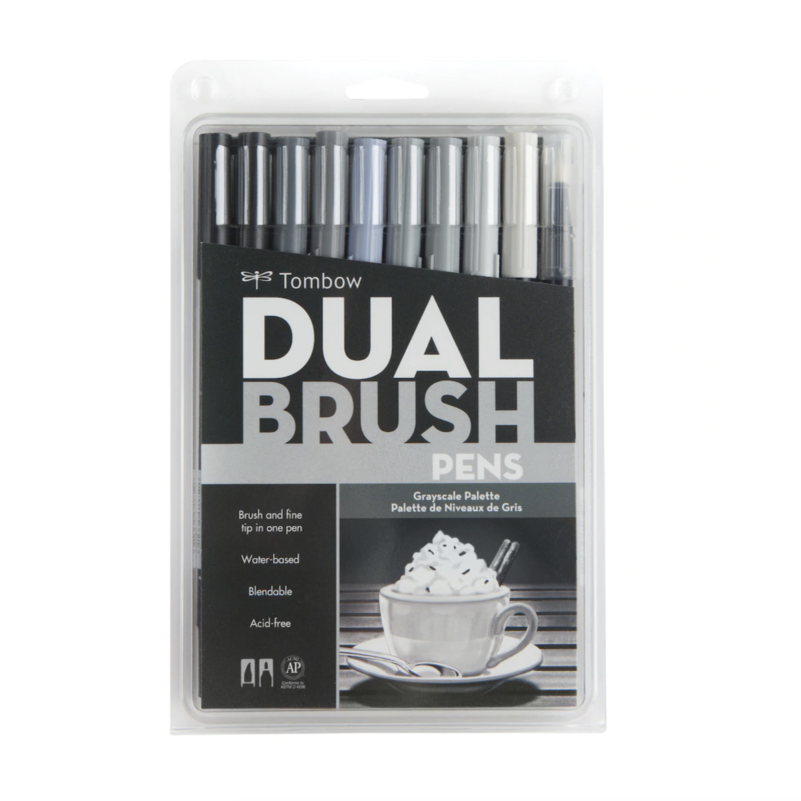 Tombow Dual Brush Pen and Artist Markers - Set of 10 - Grayscale Palette by Tombow - K. A. Artist Shop
