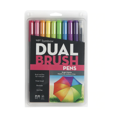 Tombow Dual Brush Pen and Artist Markers - Set of 10 - Bright Palette by Tombow - K. A. Artist Shop