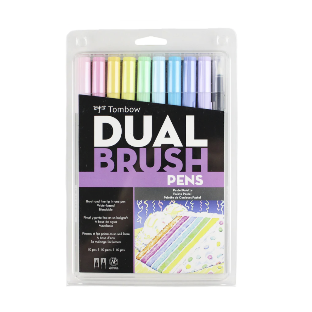 Tombow Dual Brush Pen and Artist Markers - Set of 10 - Pastel Palette by Tombow - K. A. Artist Shop