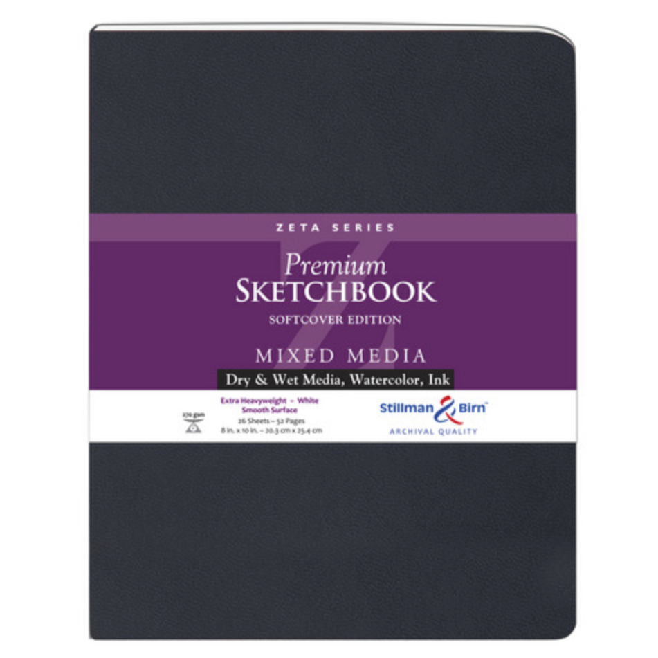 Mixed Media Sketchbook - Zeta Series (Extra Heavyweight, Smooth Surface) - Soft Cover - 8 x 10 inches by Stillman & Birn - K. A. Artist Shop