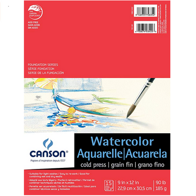 Canson Foundation Series Watercolor Pads - 15 Shts./Pad - 9 x 12 inches by Canson - K. A. Artist Shop