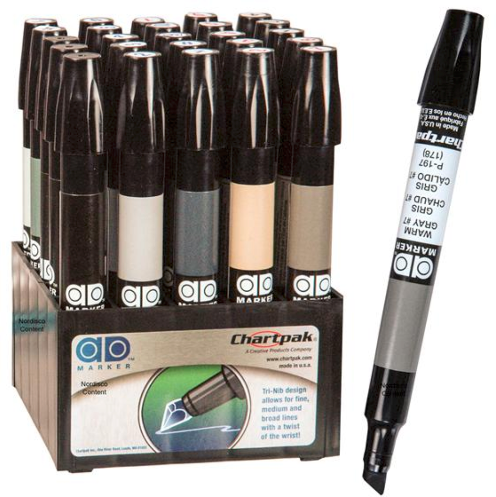 Chartpak AD Design Markers - Neutrals, Blacks, & Blenders