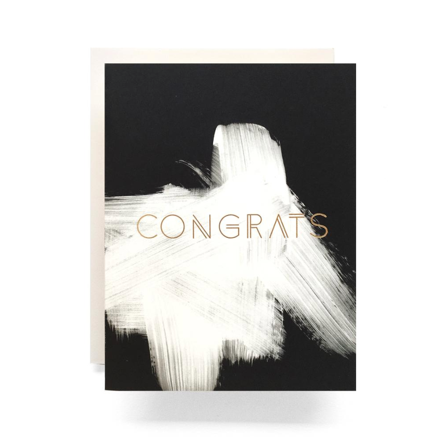 """Congrats"" Brushed Greeting Card by Antiquaria"