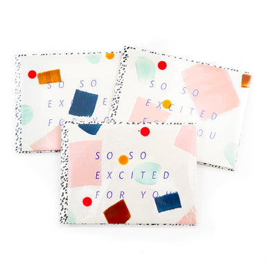 """So Excited for You"" Confetti Greeting Card by Moglea - by Moglea - K. A. Artist Shop"