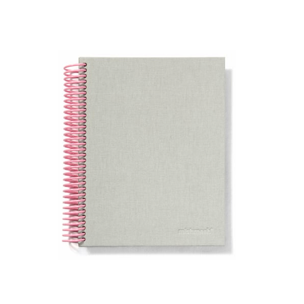Easy Breezy Spiral Notebook by Mishmash - Grey - Large Grid - by Mishmash - K. A. Artist Shop