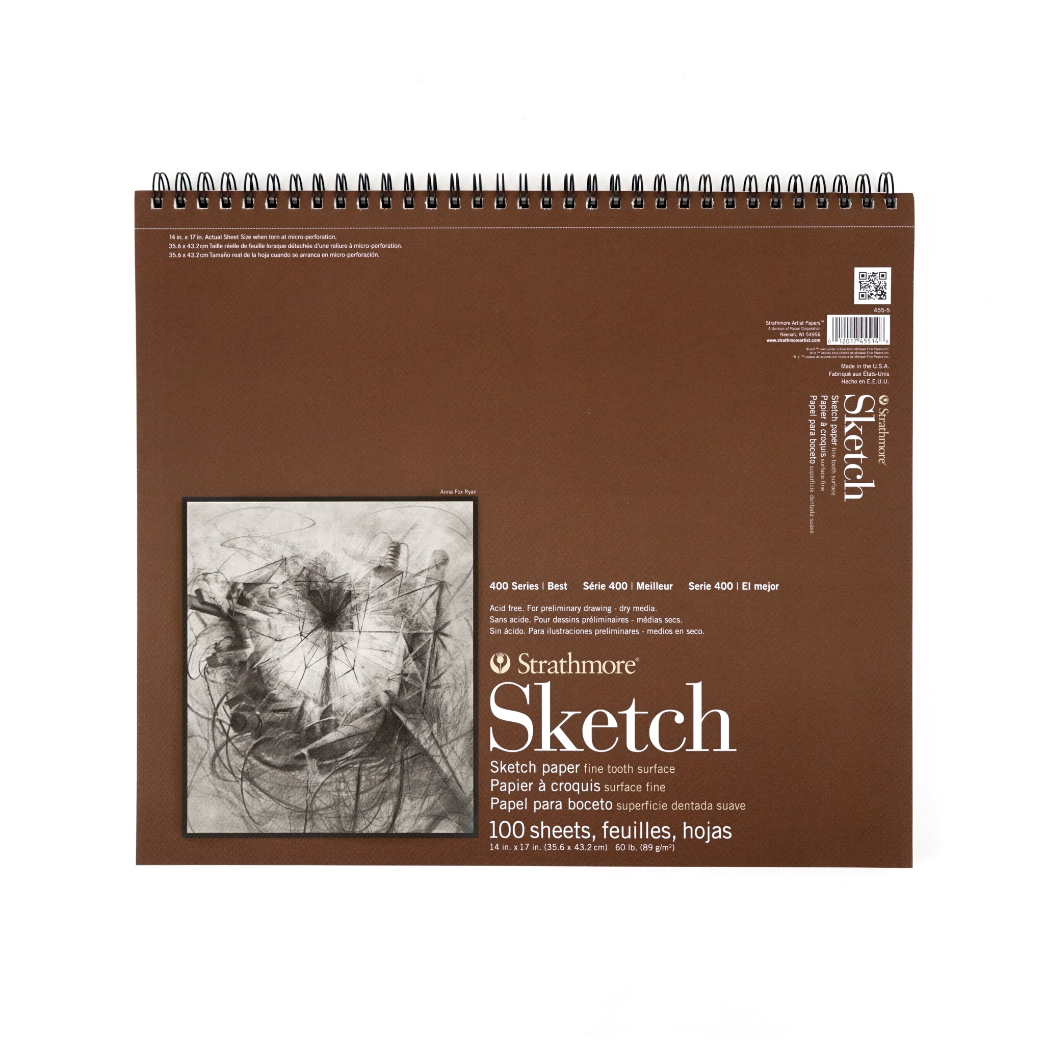 "Strathmore Sketch Paper Pad - 400 Series (Wire Bound Pad) - 100 sheets - 14"" x 17"" - 14 x 17 inches by Strathmore - K. A. Artist Shop"