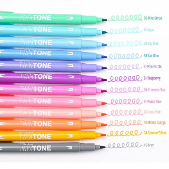 Tombow Twintone Dual Tip Marker Sets - Pastels - Set of 12 by Tombow - K. A. Artist Shop