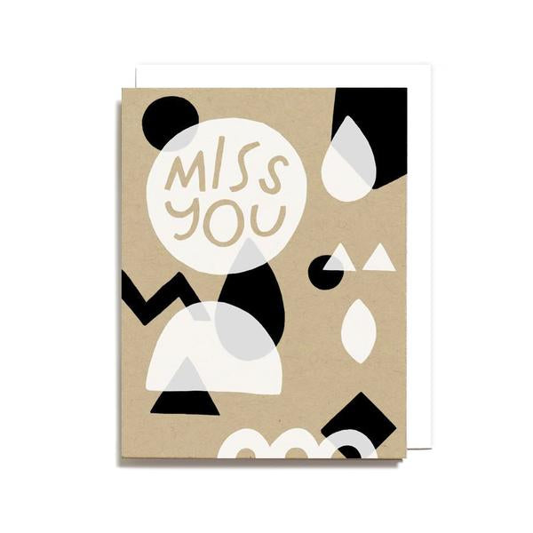 """Miss You"" Geometric Card by Worthwhile Paper"