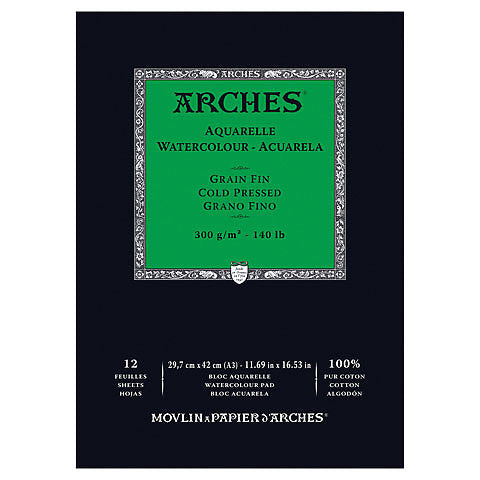 Arches Aquarelle Watercolor Pad - Cold Pressed 300gsm / 140 lb. 12 sheet pad