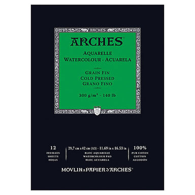 Arches Aquarelle Watercolor Pad - Cold Press - 300 gsm - 12 sheets - by Arches - K. A. Artist Shop