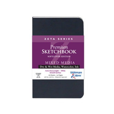 Mixed Media Sketchbook - Zeta Series (Extra Heavyweight, Smooth Surface) - Soft Cover - 3.5 x 5.5 inches by Stillman & Birn - K. A. Artist Shop