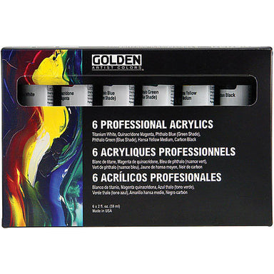 Golden Professional Acrylics / Heavy Body Acrylics Set (Six 2 oz. Tubes) - by Golden - K. A. Artist Shop