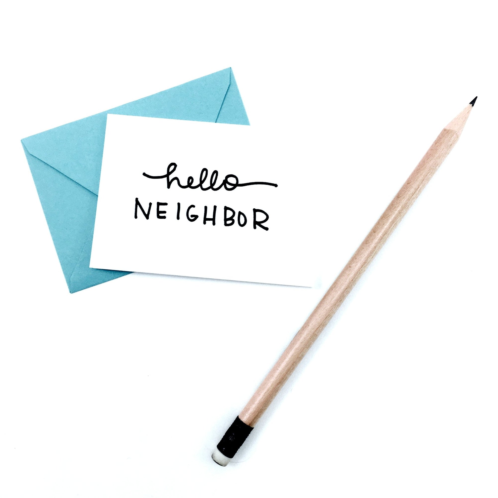 """Hello Neighbor"" Mini Hand-Drawn Greeting Card"