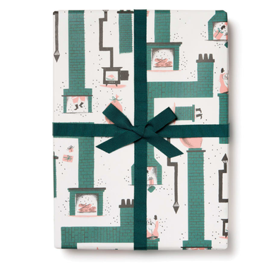Red Cap Gift Wrap - Santa Chimney Wrapping Paper - 3 Sheets - by Red Cap - K. A. Artist Shop