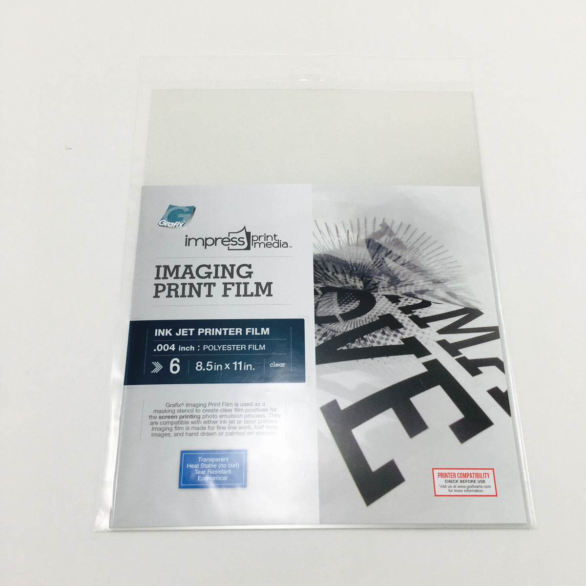Imaging Print Film for Screen Print Inkjet Scans (6 sheets - 8.5 x 11 inches)