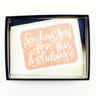 """Sending You Love This Holiday"" Card & Envelope Set (box of 8) by One Canoe Two"