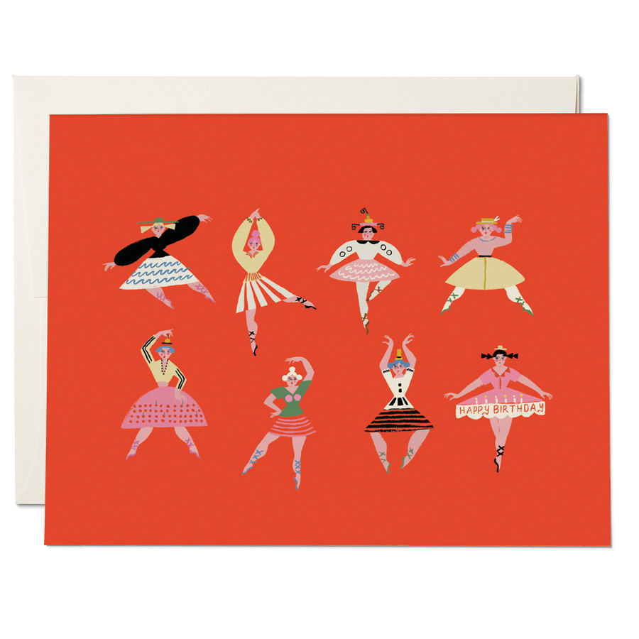 Red Cap Birthday Dancers Card - by Red Cap - K. A. Artist Shop