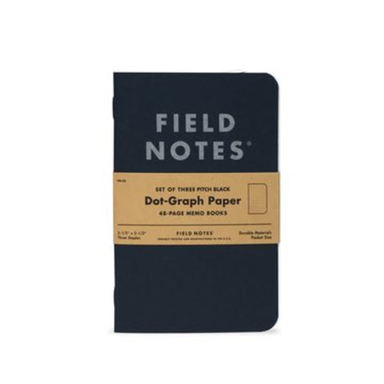 "Field Notes Pitch Black Dot Graph Memo Books - 3.5"" x 5.5"" - 3pk - by Field Notes - K. A. Artist Shop"