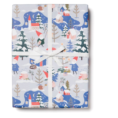 Red Cap Gift Wrap - Holiday Gnomes Wrapping Paper - 3 Sheets - by Red Cap - K. A. Artist Shop