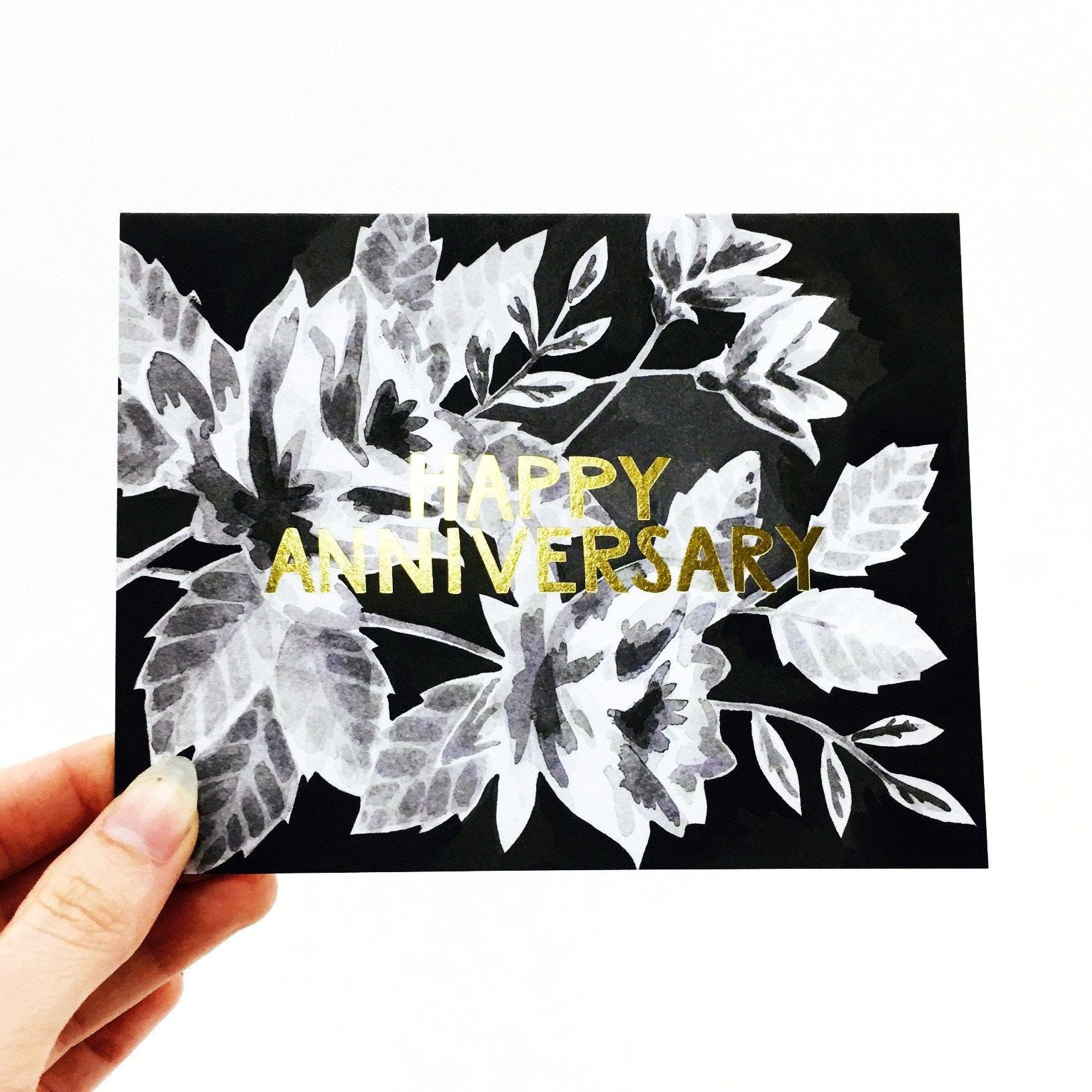"""Happy Anniversary"" Black Floral Card by One Canoe Two"