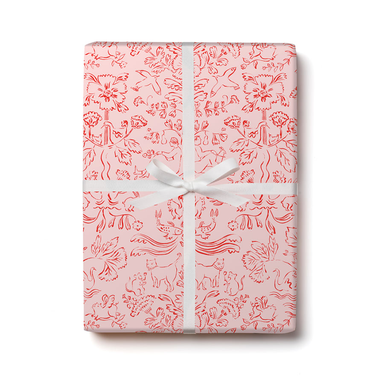 Red Cap Gift Wrap - Otomi Wrapping Paper - 3 Sheets - by Red Cap - K. A. Artist Shop