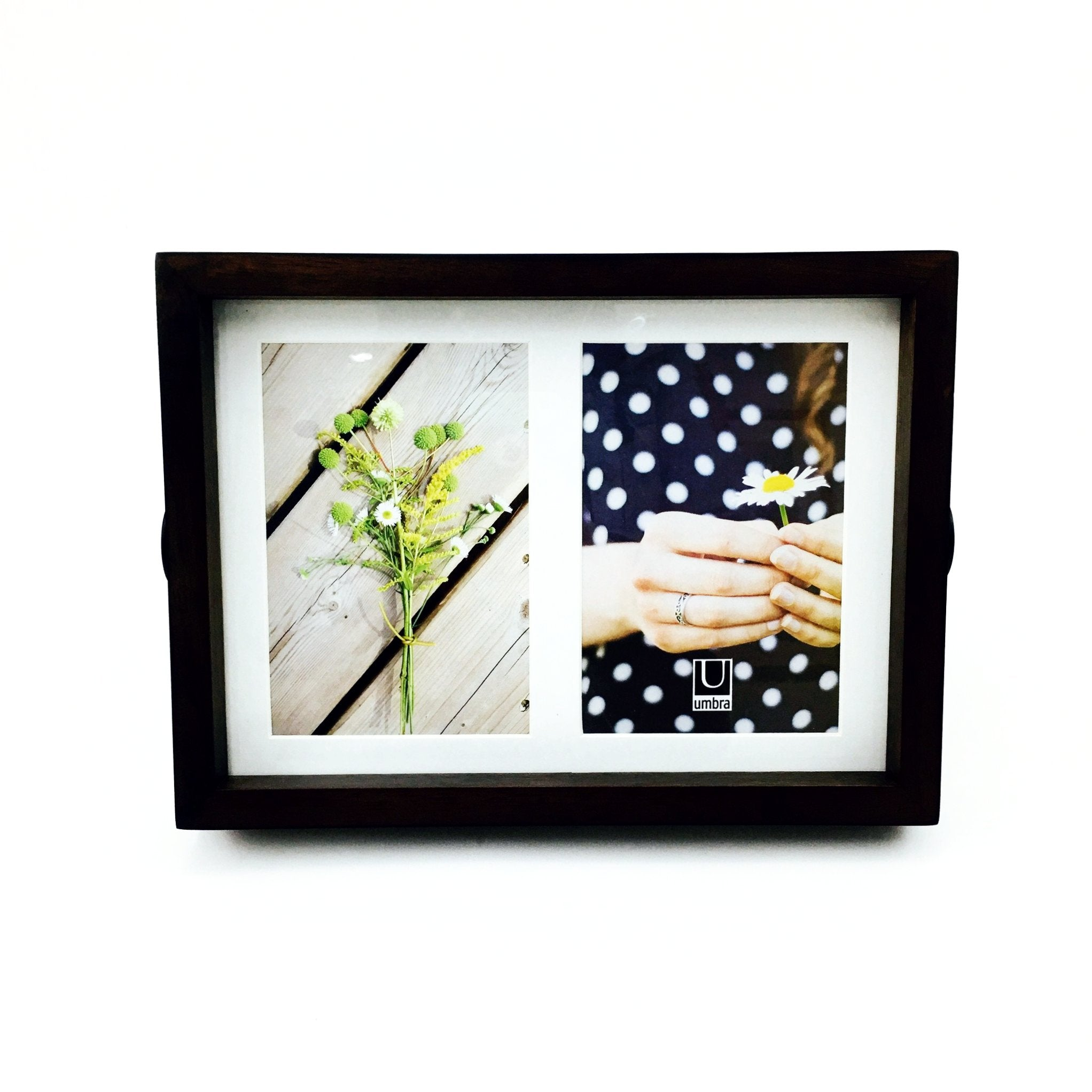 """Axis"" Picture Frames in Aged Walnut by Umbra - Multi - Holds Two 4"" x 6"" Photos by Umbra - K. A. Artist Shop"