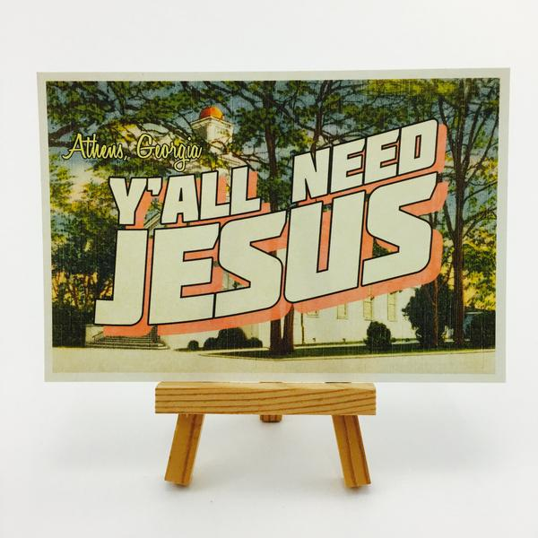 """Y'all Need Jesus"" Athens, GA Postcard by Classic City Postal Service"