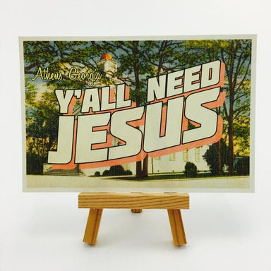 """Y'all Need Jesus"" Athens, GA Postcard by Classic City Postal Service - by Erin Lovett - K. A. Artist Shop"