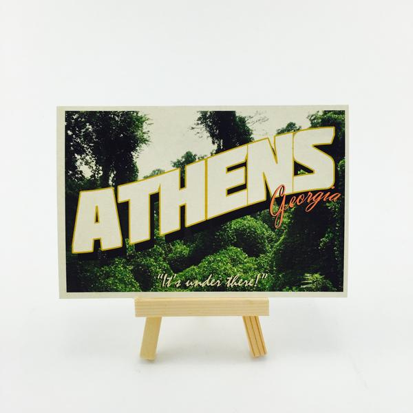 """It's under there!"" Athens, GA Postcard by Classic City Postal Service"