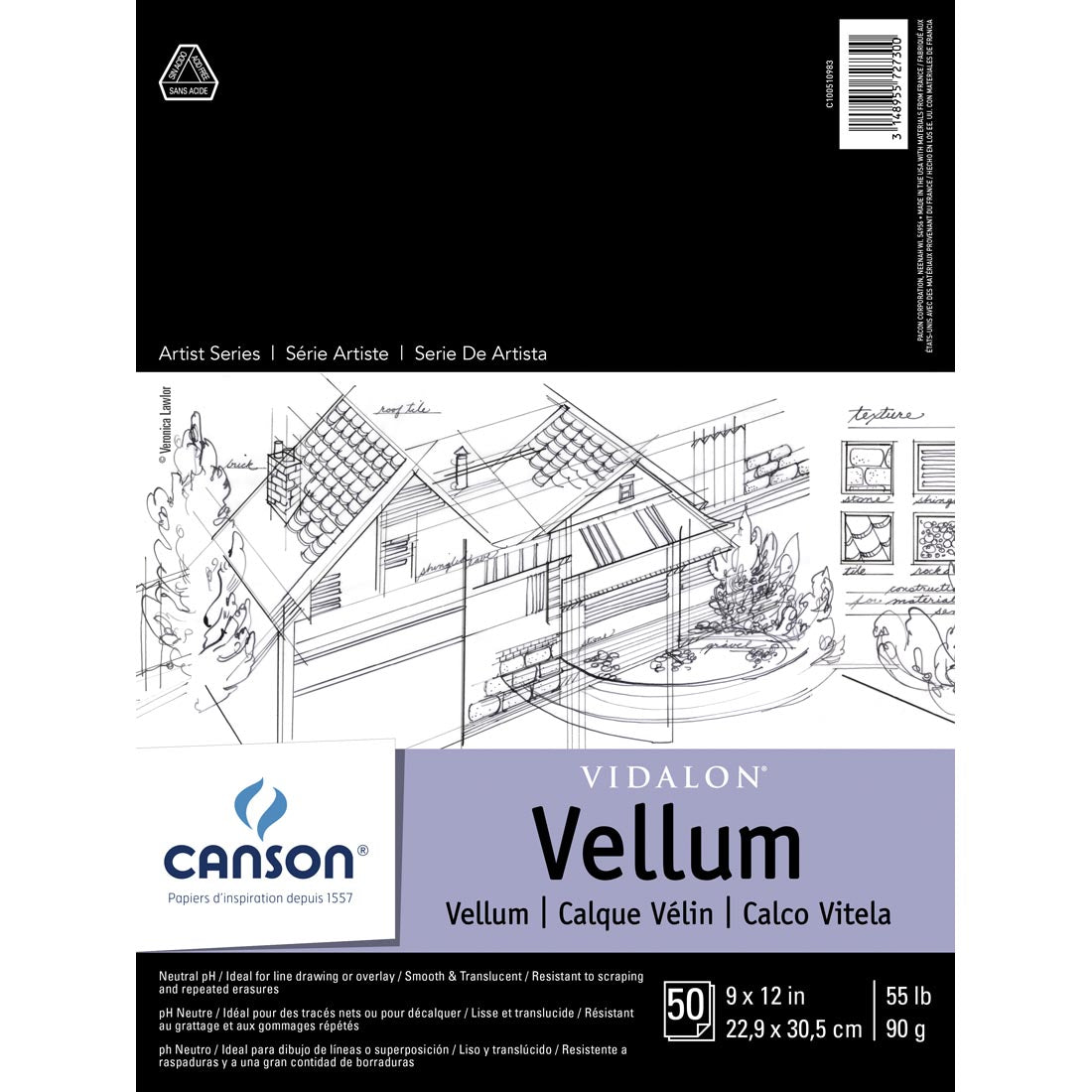 Canson Vidalon Vellum Heavyweight Tracing Paper Pad - 55 lb. - by Canson - K. A. Artist Shop